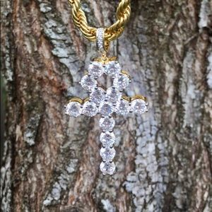Jewelry - 18k Gold Plated 5mm Diamond Ahnk Chain & Pendant